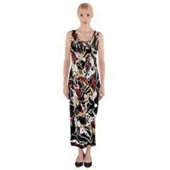 Abstract Floral Design Fitted Maxi Dress