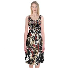 Abstract Floral Design Midi Sleeveless Dress by Valentinaart