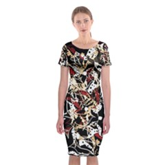 Abstract Floral Design Classic Short Sleeve Midi Dress by Valentinaart
