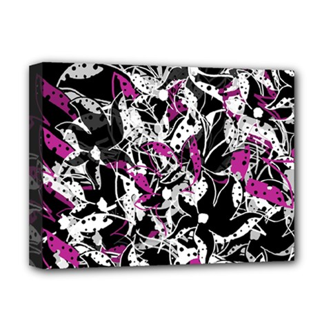 Purple Abstract Flowers Deluxe Canvas 16  X 12   by Valentinaart