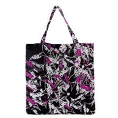 Purple Abstract Flowers Grocery Tote Bag by Valentinaart