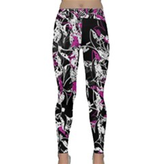 Purple Abstract Flowers Classic Yoga Leggings by Valentinaart