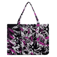 Purple Abstract Flowers Medium Zipper Tote Bag by Valentinaart