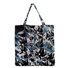 Blue Abstract Flowers Grocery Tote Bag by Valentinaart