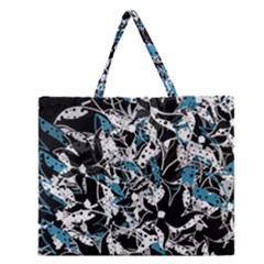 Blue Abstract Flowers Zipper Large Tote Bag by Valentinaart