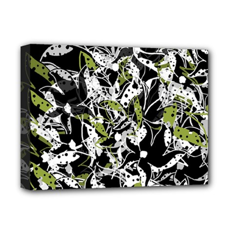Green Floral Abstraction Deluxe Canvas 16  X 12   by Valentinaart