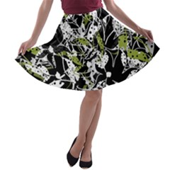 Green Floral Abstraction A Line Skater Skirt by Valentinaart