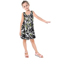 Green Floral Abstraction Kids  Sleeveless Dress by Valentinaart