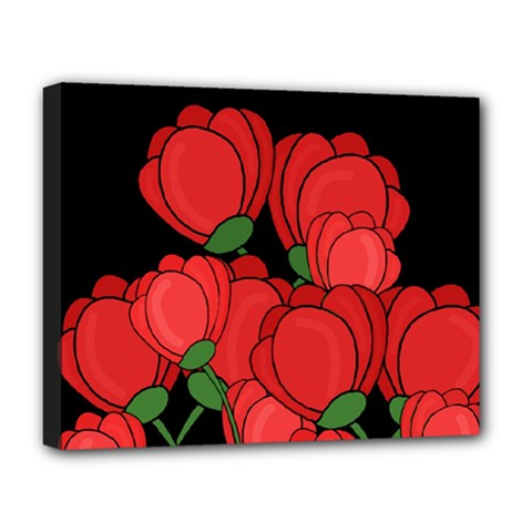 Red Tulips Deluxe Canvas 20  X 16   by Valentinaart