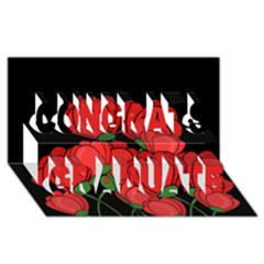 Red Tulips Congrats Graduate 3d Greeting Card (8x4) by Valentinaart