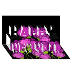 Purple Tulips Happy New Year 3d Greeting Card (8x4) by Valentinaart