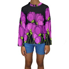Purple Tulips Kids  Long Sleeve Swimwear