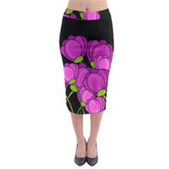 Purple Tulips Midi Pencil Skirt by Valentinaart