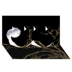 Nature Dark Scene Twin Hearts 3d Greeting Card (8x4) by dflcprints