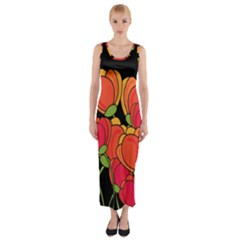 Orange Tulips Fitted Maxi Dress by Valentinaart