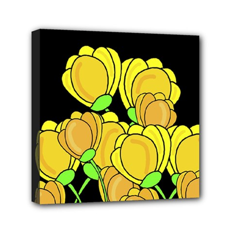 Yellow Tulips Mini Canvas 6  X 6  by Valentinaart