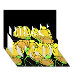 Yellow Tulips Miss You 3d Greeting Card (7x5) by Valentinaart