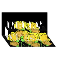 Yellow Tulips Merry Xmas 3d Greeting Card (8x4) by Valentinaart