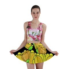 Yellow Tulips Mini Skirt by Valentinaart
