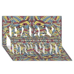 Multicolor Abstract Happy New Year 3d Greeting Card (8x4)