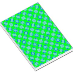 Mod Blue Circles On Bright Green Large Memo Pads by BrightVibesDesign