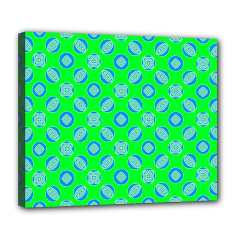 Mod Blue Circles On Bright Green Deluxe Canvas 24  X 20   by BrightVibesDesign
