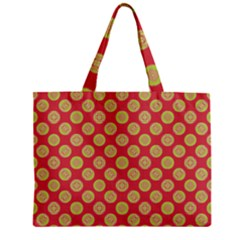 Mod Yellow Circles On Orange Zipper Mini Tote Bag by BrightVibesDesign