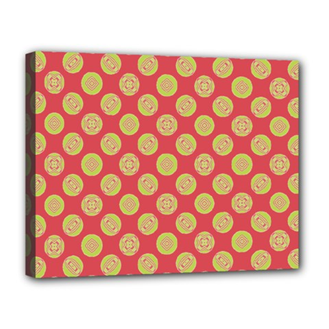 Mod Yellow Circles On Orange Canvas 14  X 11  by BrightVibesDesign