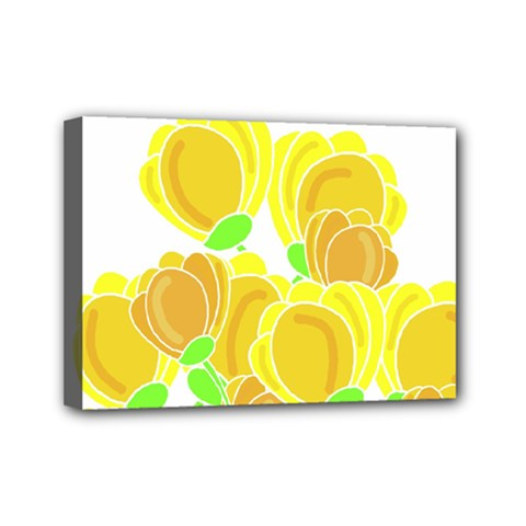 Yellow Flowers Mini Canvas 7  X 5  by Valentinaart