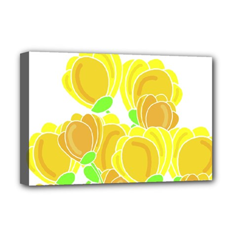 Yellow Flowers Deluxe Canvas 18  X 12   by Valentinaart