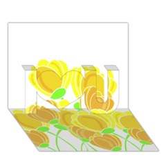 Yellow Flowers I Love You 3d Greeting Card (7x5)