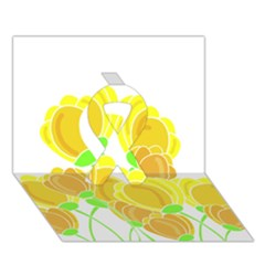 Yellow Flowers Ribbon 3d Greeting Card (7x5) by Valentinaart