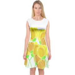 Yellow Flowers Capsleeve Midi Dress by Valentinaart