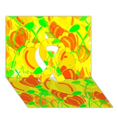 Yellow Garden Ribbon 3d Greeting Card (7x5) by Valentinaart