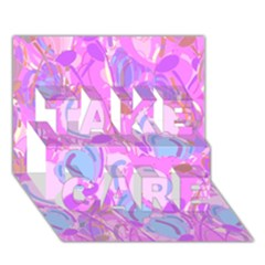 Pink Garden Take Care 3d Greeting Card (7x5)