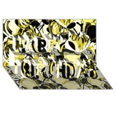 Yellow Abstract Garden Happy Birthday 3d Greeting Card (8x4) by Valentinaart