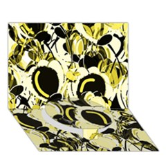 Yellow Abstract Garden Circle Bottom 3d Greeting Card (7x5)