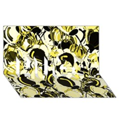 Yellow Abstract Garden Hugs 3d Greeting Card (8x4) by Valentinaart