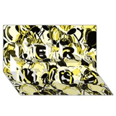 Yellow Abstract Garden Merry Xmas 3d Greeting Card (8x4) by Valentinaart
