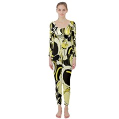 Yellow Abstract Garden Long Sleeve Catsuit
