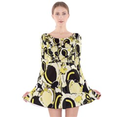 Yellow Abstract Garden Long Sleeve Velvet Skater Dress