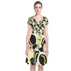 Yellow Abstract Garden Short Sleeve Front Wrap Dress by Valentinaart