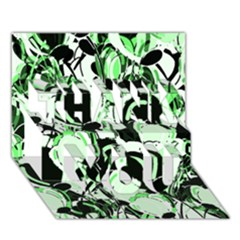 Green Abstract Garden Thank You 3d Greeting Card (7x5) by Valentinaart