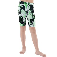 Green Abstract Garden Kids  Mid Length Swim Shorts by Valentinaart