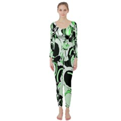 Green Abstract Garden Long Sleeve Catsuit