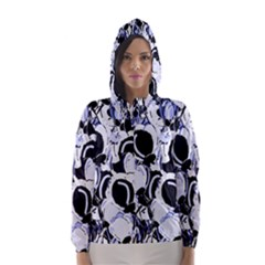 Blue Abstract Floral Design Hooded Wind Breaker (women) by Valentinaart