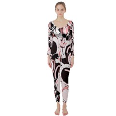 Pink Abstract Garden Long Sleeve Catsuit