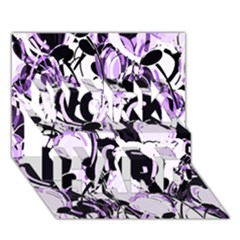 Purple Abstract Garden Work Hard 3d Greeting Card (7x5) by Valentinaart