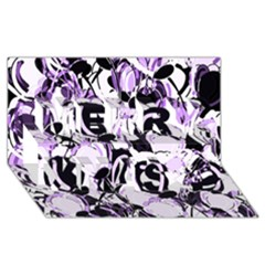 Purple Abstract Garden Merry Xmas 3d Greeting Card (8x4) by Valentinaart