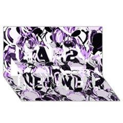Purple Abstract Garden Happy New Year 3d Greeting Card (8x4) by Valentinaart